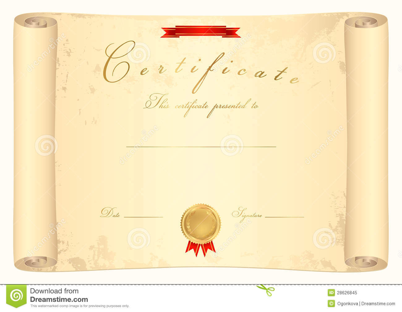 scroll certificate royalty free stock photo