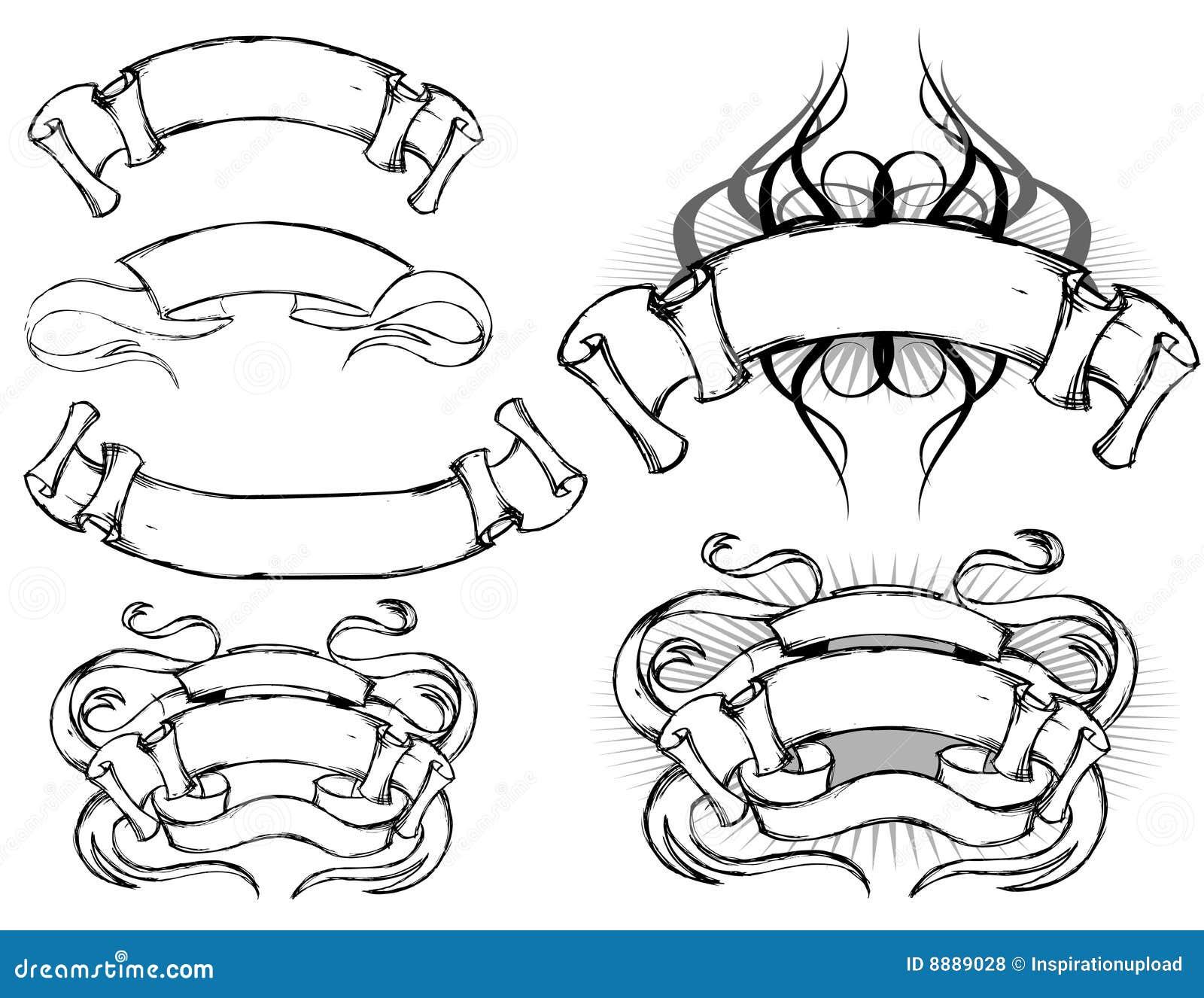scroll design set stock vector illustration of banners 8889028. Black Bedroom Furniture Sets. Home Design Ideas