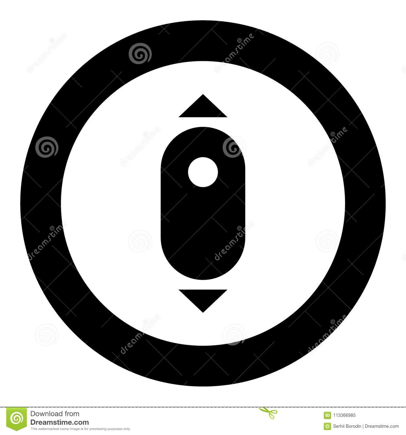 Scroll Down Computer Mouse Icon Black Color In Circle Stock Vector