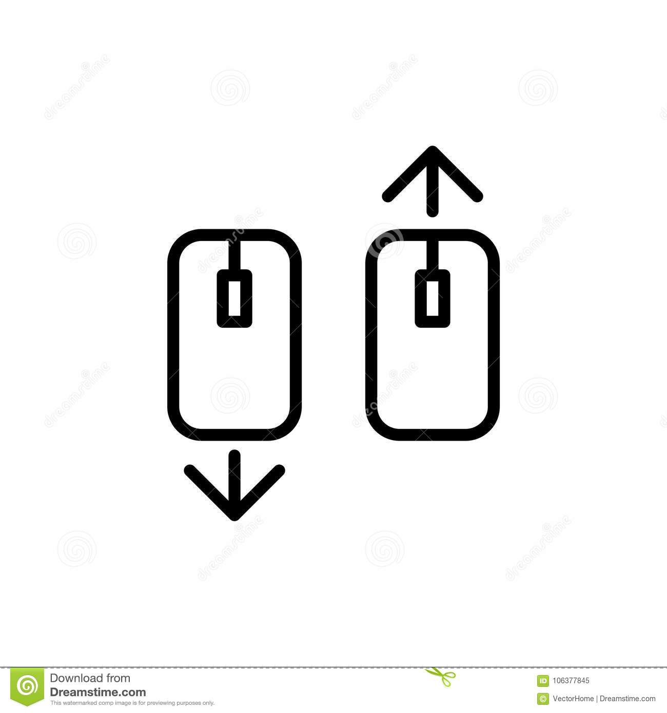 Scroll Down Up Computer Mouse Icon Illustration Stock Vector