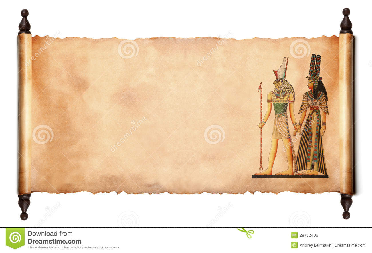 Scroll with Egyptian gods images - Pharaoh and Horus. isolated over a ...