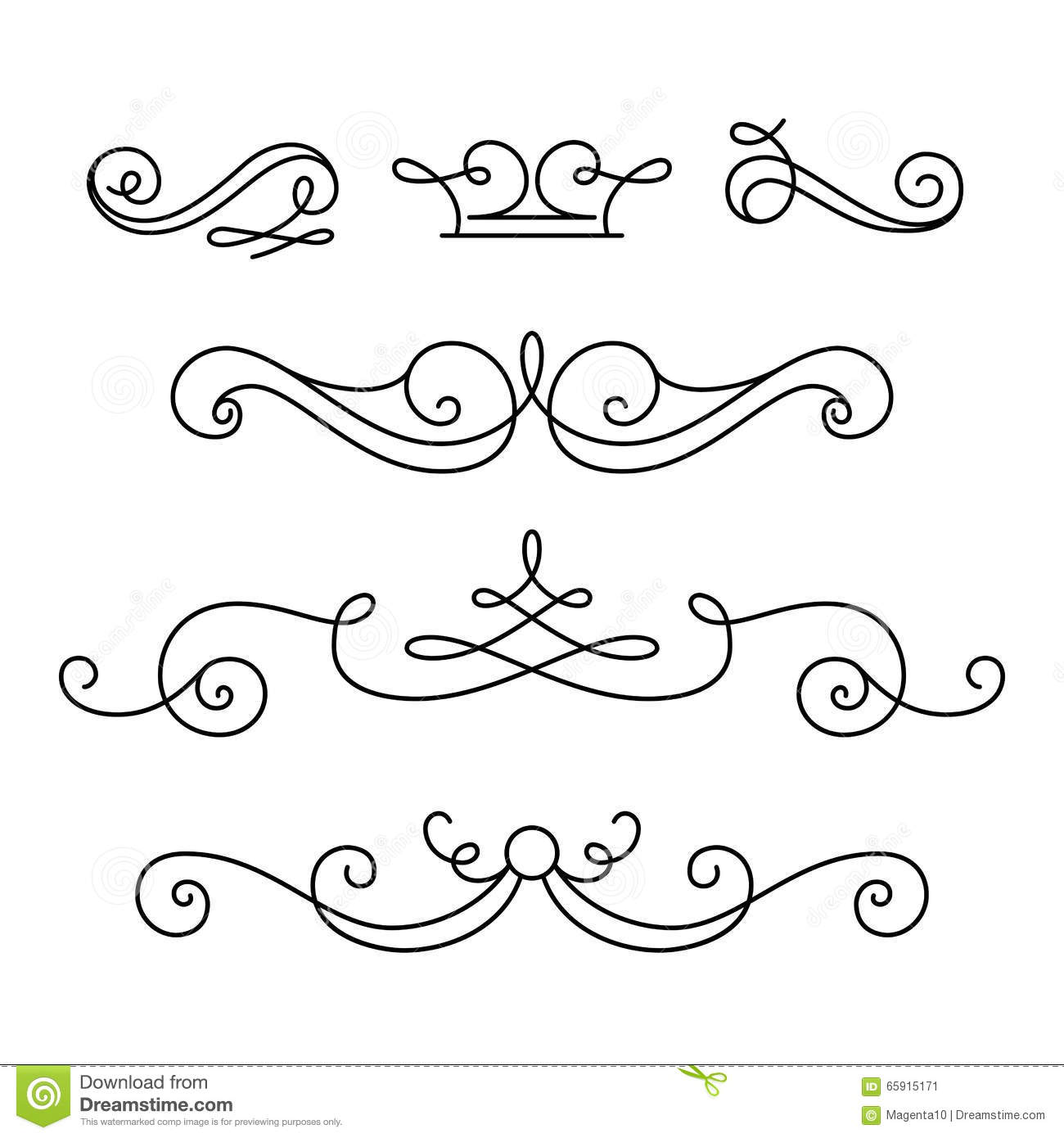 Scroll elements set of vintage calligraphic vignettes for Decorative scrollwork