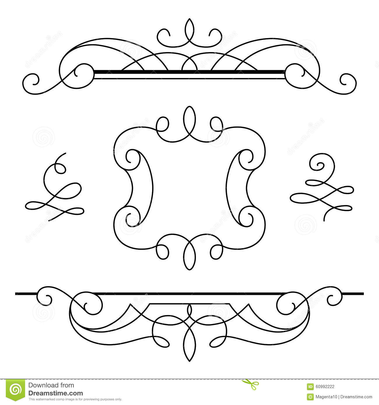 scroll outline template - scroll elements set of vintage calligraphic vignettes