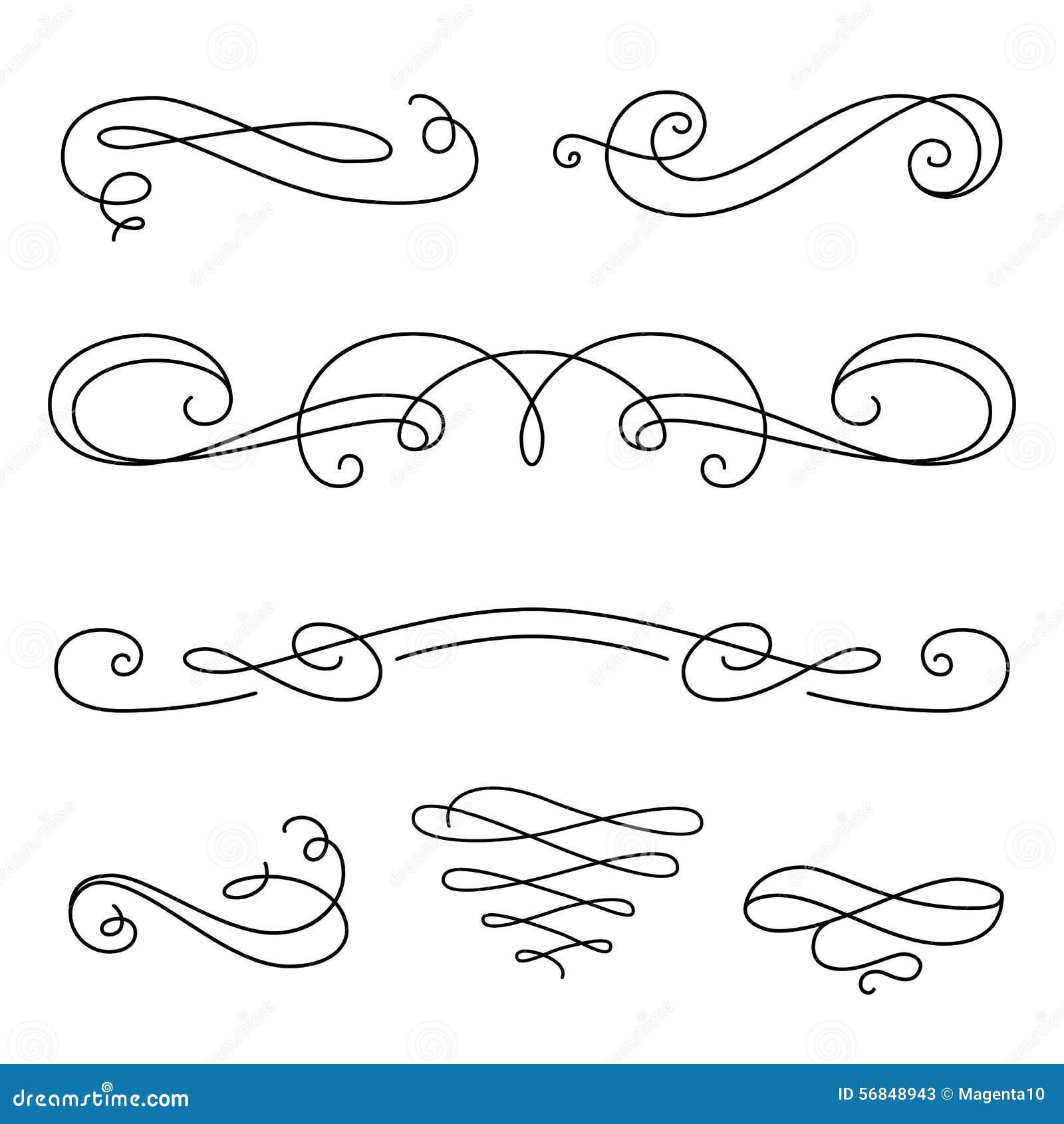 Scroll elements set of vintage calligraphic vignettes