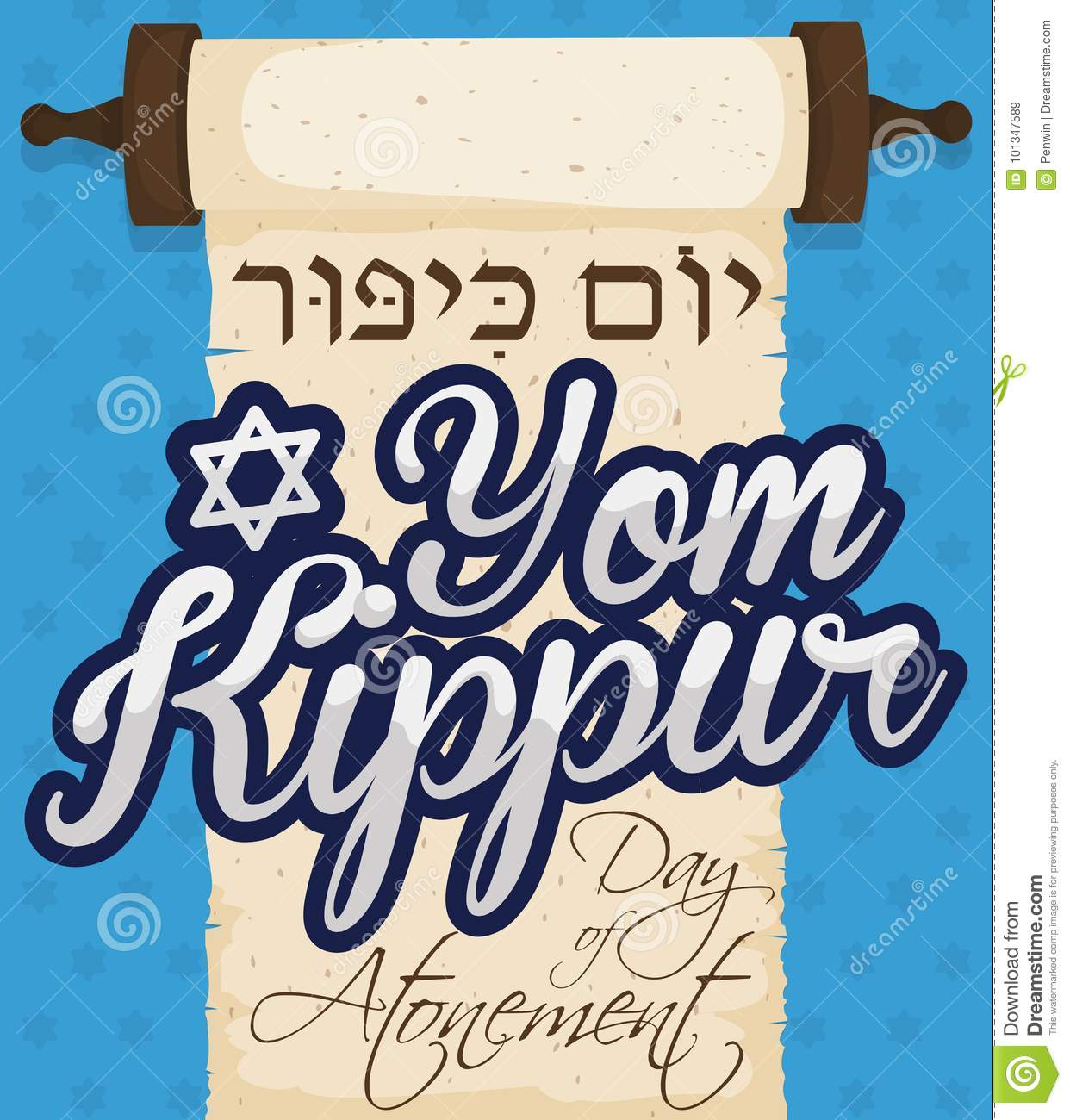 Scroll with greeting for yom kippur or day of atonement vector scroll with greeting for yom kippur or day of atonement vector illustration m4hsunfo