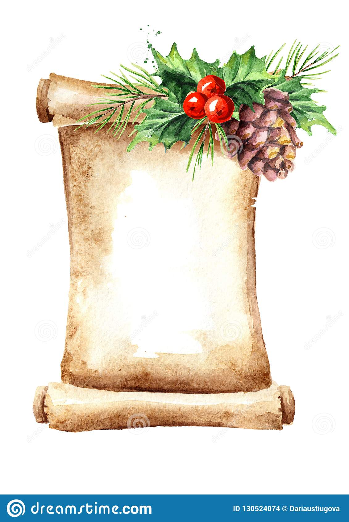 A scroll of old paper with Christmas elements.. Watercolor hand drawn illustration, isolated on white background.