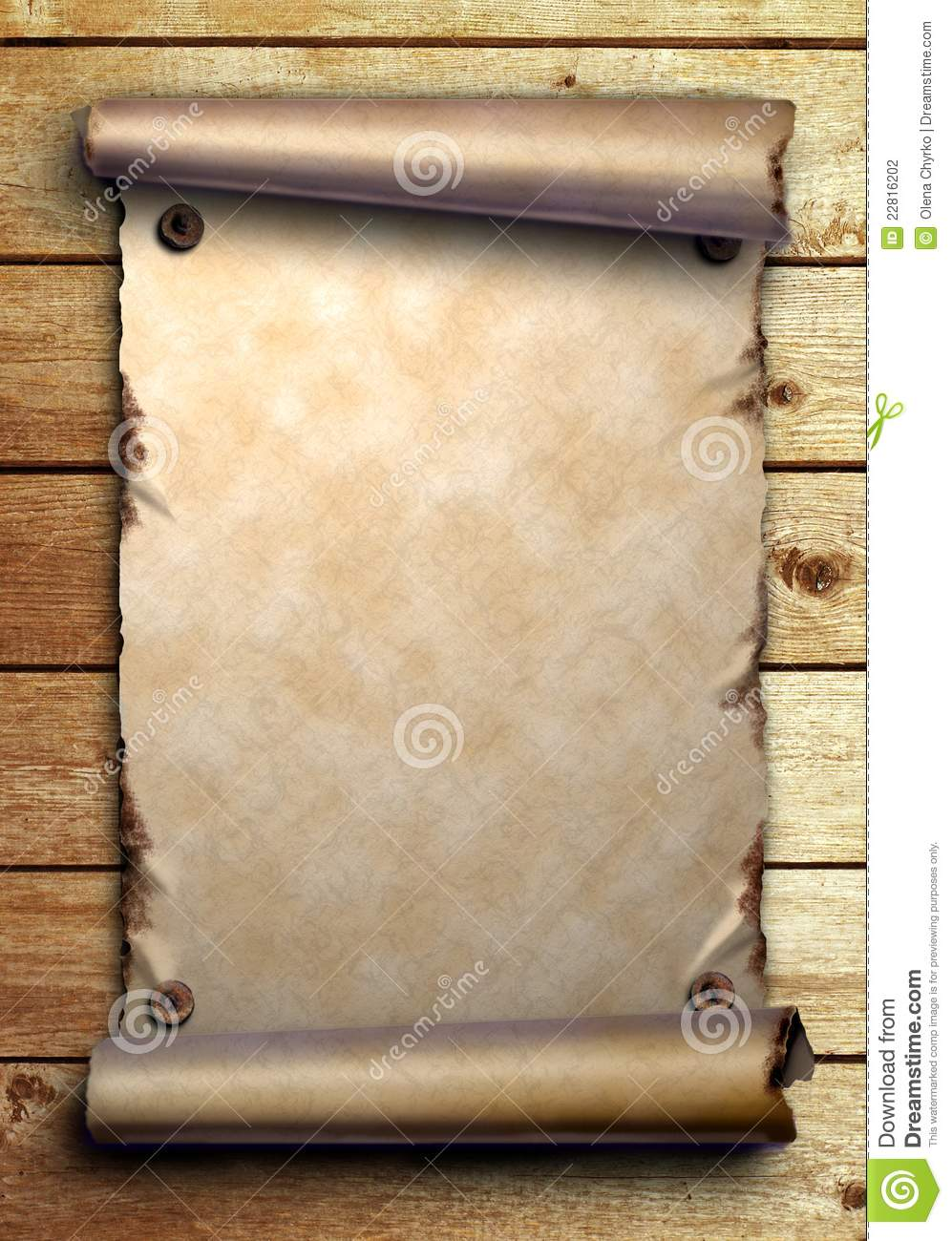 3d Scroll Of Parchment Photo: Scroll Of Old Paper On Wooden Boards Stock Photography