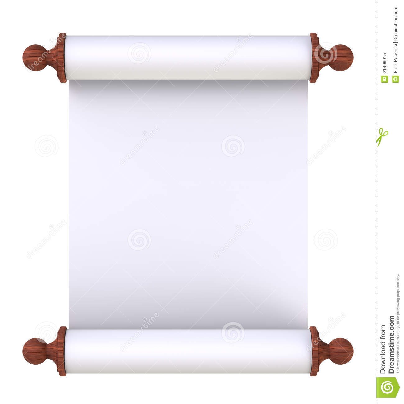 scroll paper with wooden handles over white stock illustration, Powerpoint templates