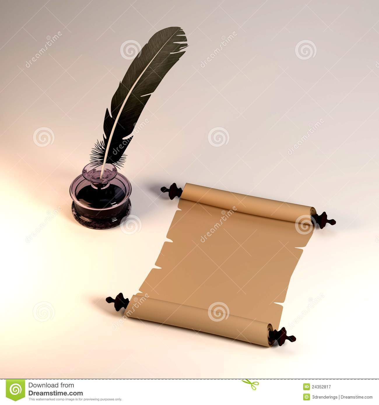 Scroll And Quill Royalty Free Stock Photography - Image