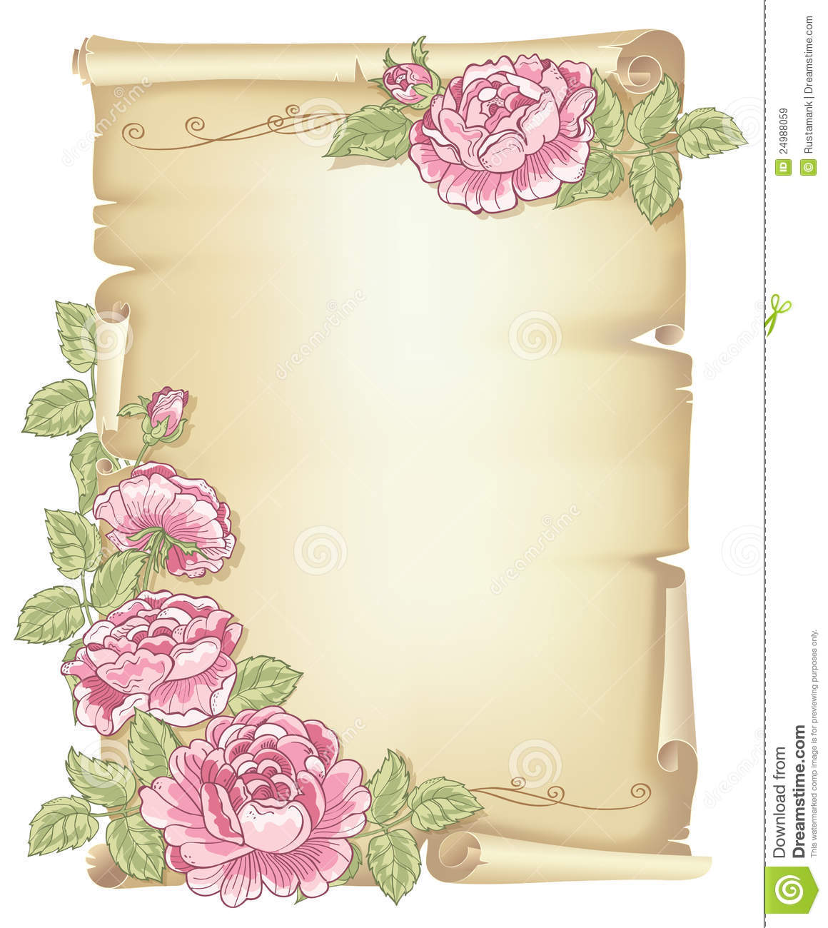 Scroll And Roses Royalty Free Stock Images Image 24988059