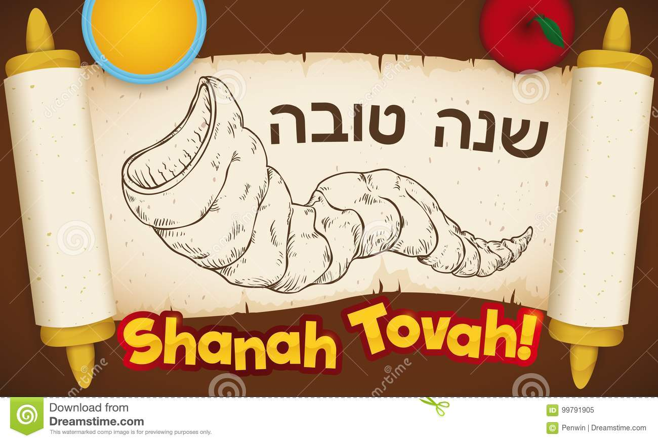 Scroll With Shofar Draw And Greetings For Jewish New Year Vector