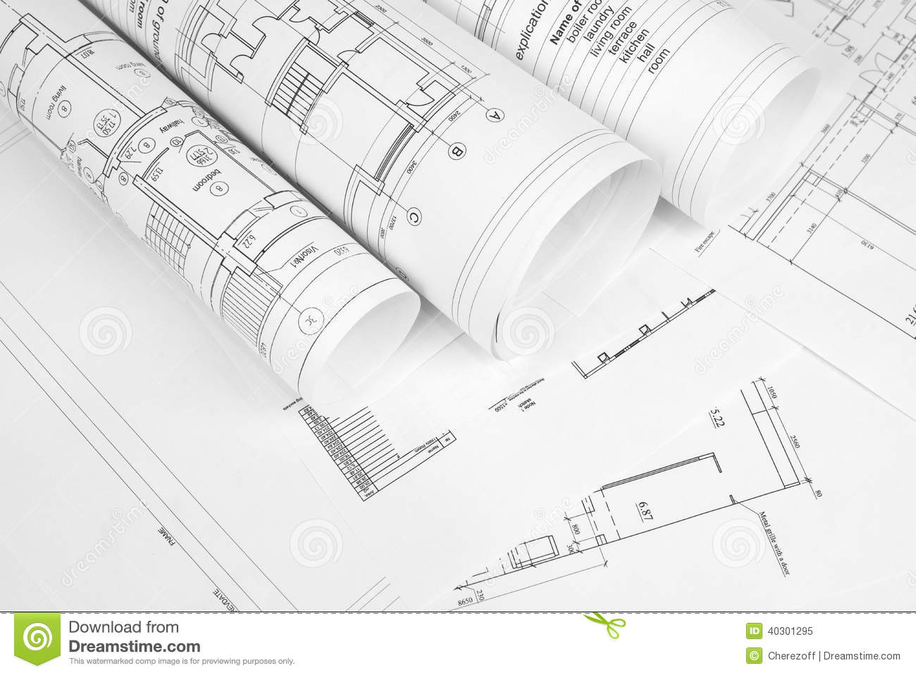 Scrolls of architectural drawings stock image image of for Paper for architectural drawings