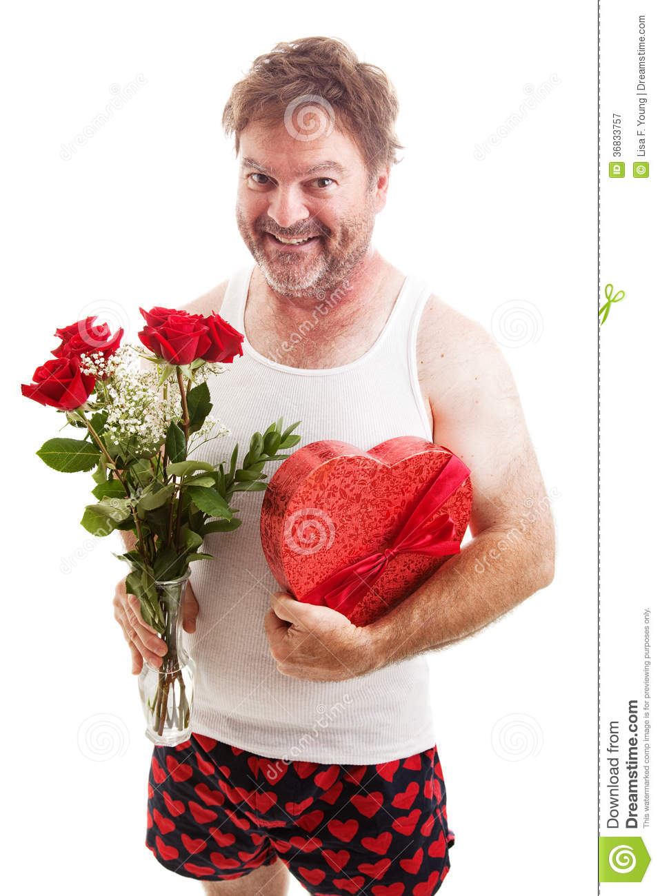 Scruffy valentines guy in underwear royalty free stock for What to get guys on valentines day