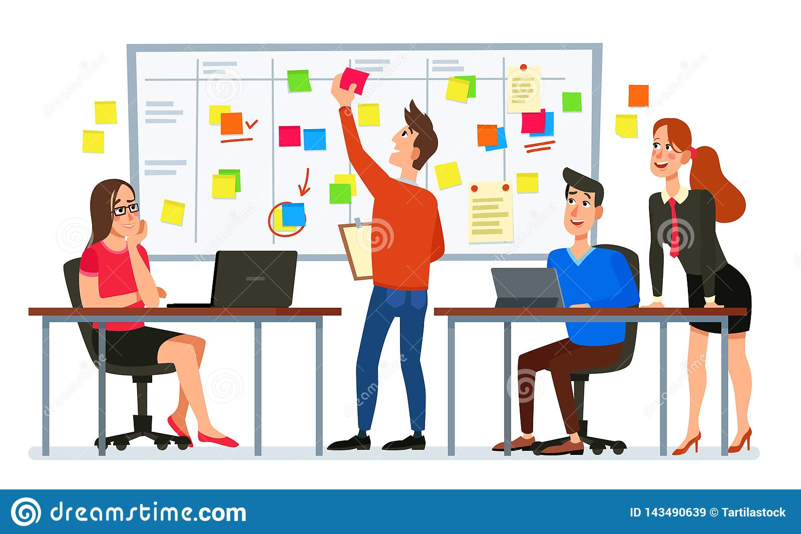 Scrum board meeting. Business team planning tasks, office workers conference and workflow plan flowchart cartoon vector