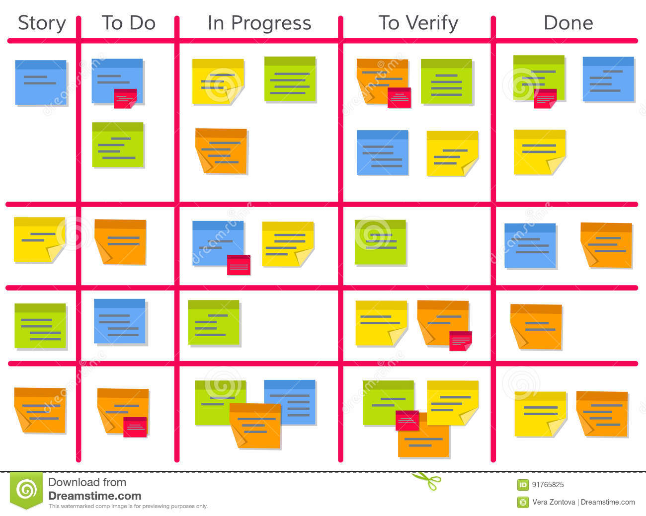 Scrum Task Kanban Board With Sticky Notes Stock Vector