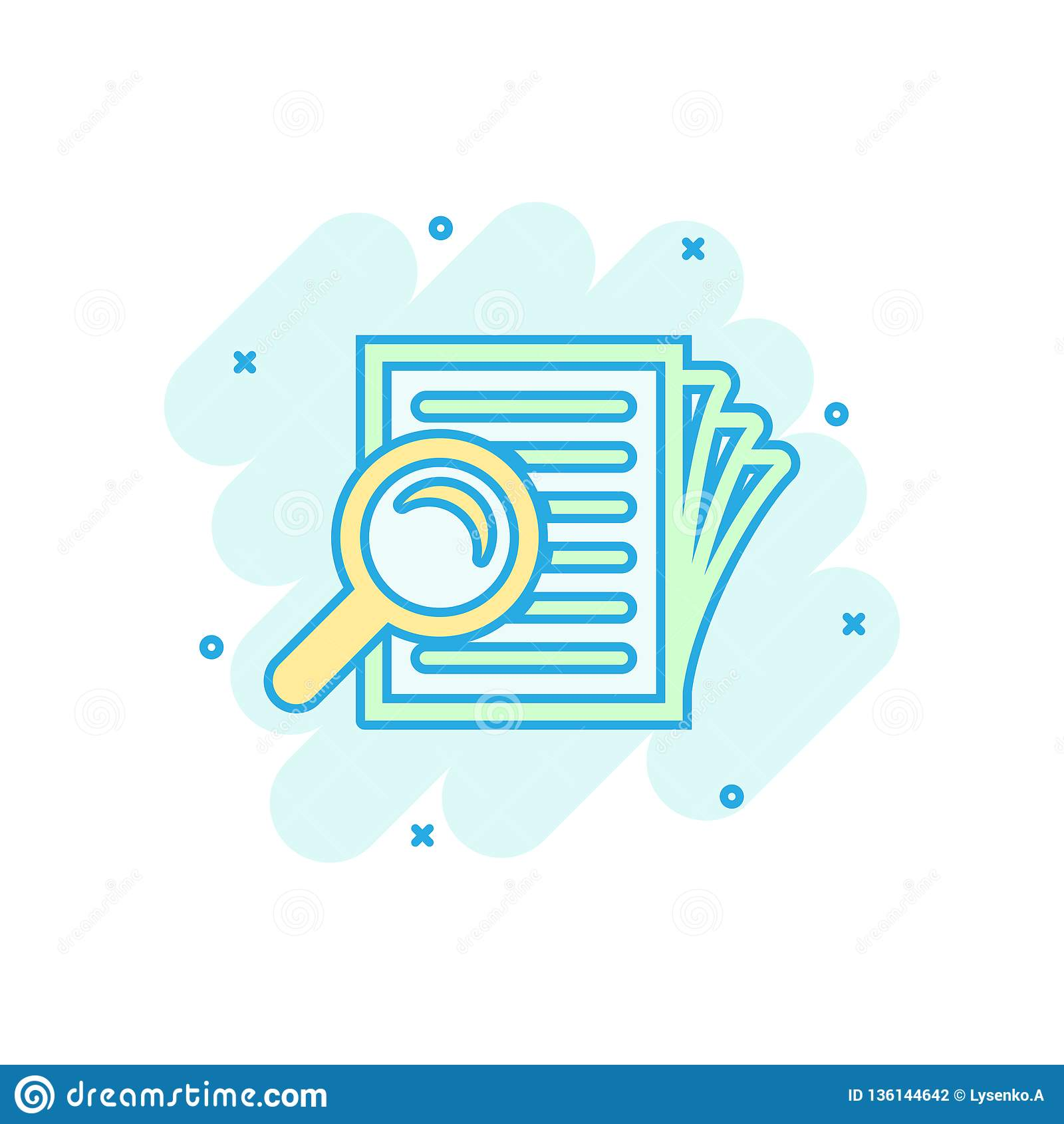Scrutiny document plan icon in comic style. Review statement vector cartoon illustration pictogram. Document with magnifier loupe