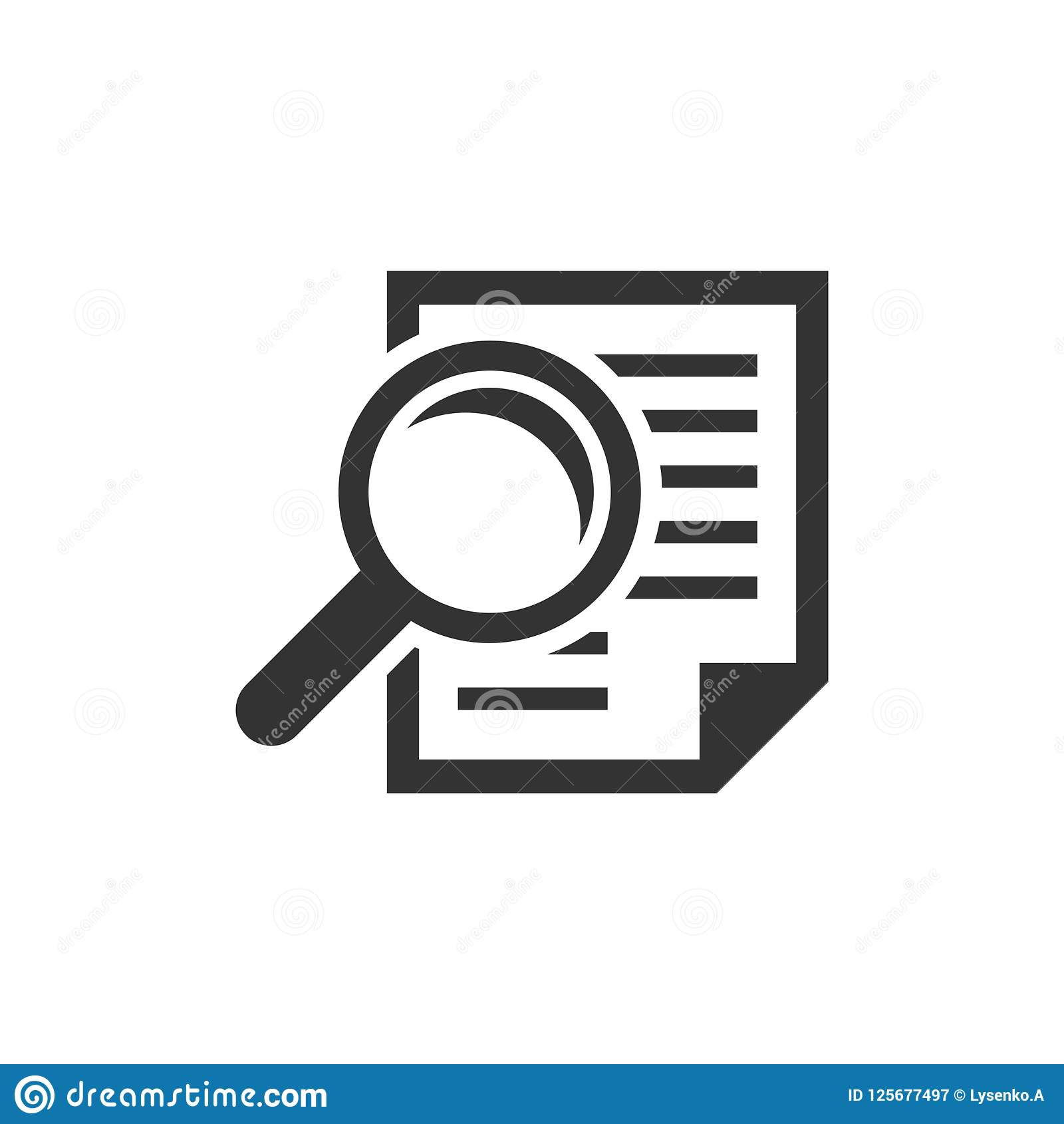 Scrutiny document plan icon in flat style. Review statement vector illustration on white isolated background. Document with