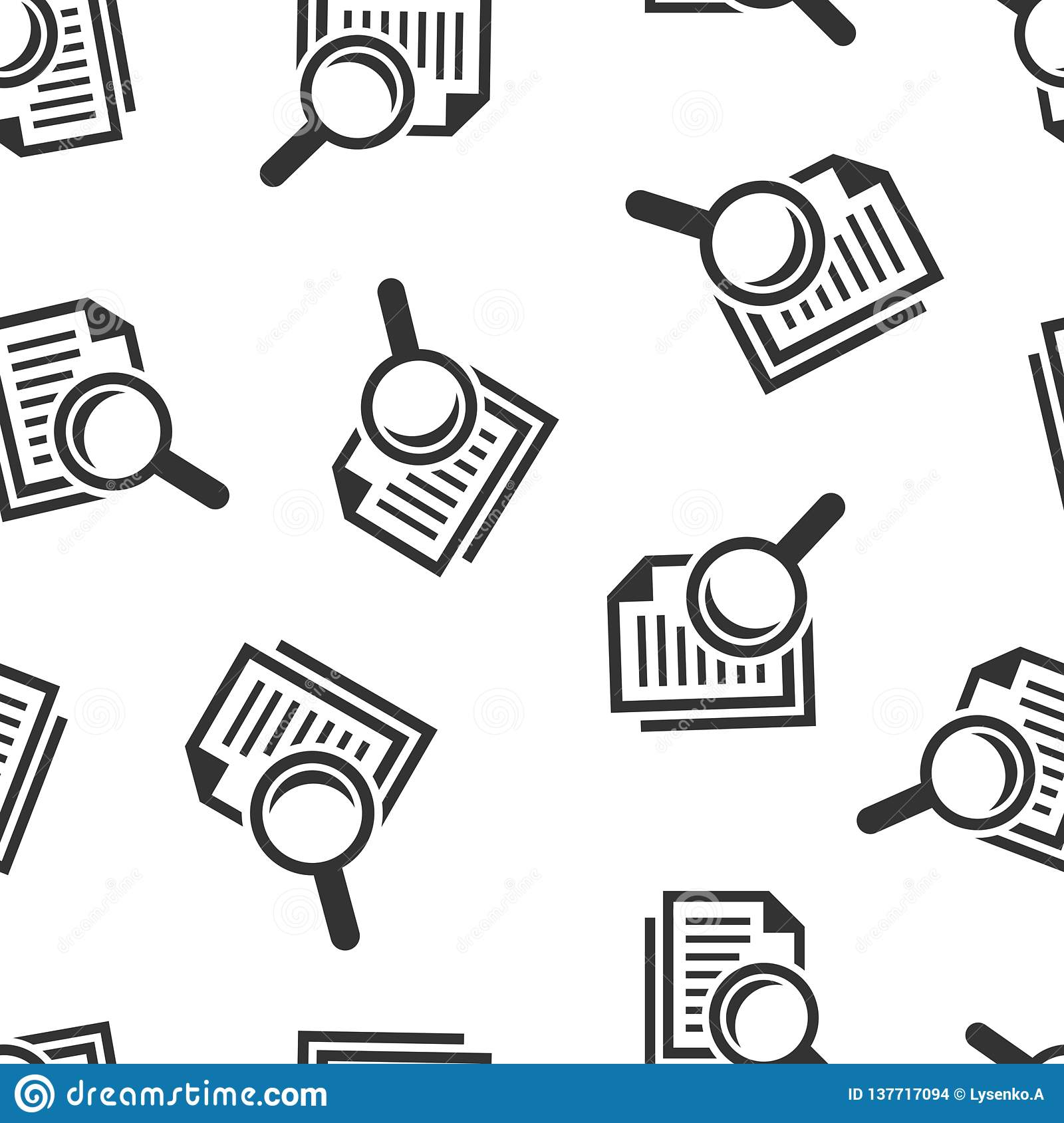 Scrutiny document plan icon seamless pattern background. Review statement vector illustration. Document with magnifier loupe