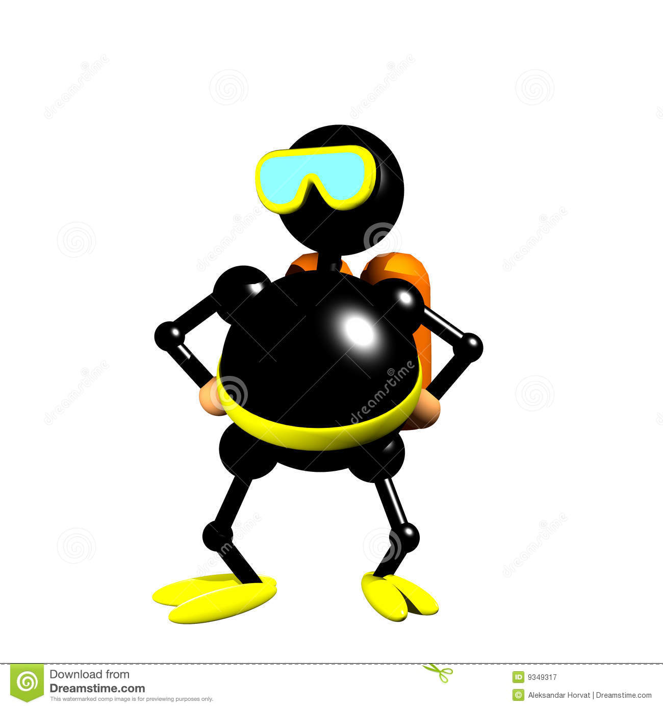 Scuba diver figurine clipart, computer generated 3D icon of man in ...