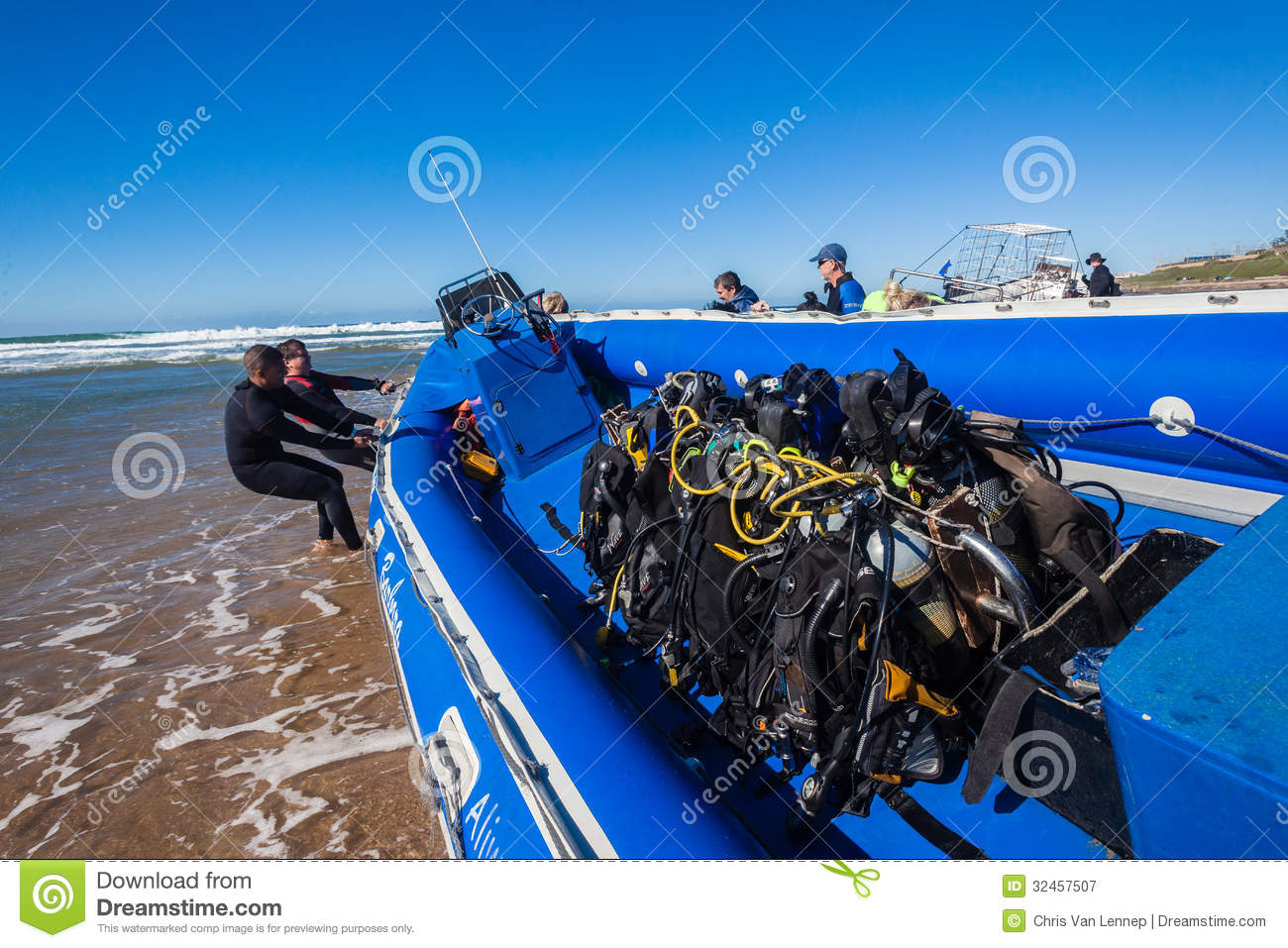 Scuba Divers Oxygen Bottles Boat Editorial Photography Image 32457507