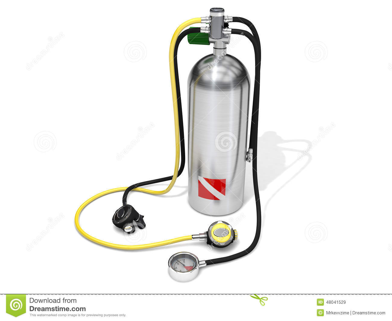 Scuba diving gear on white background. First stage regulator, second ...