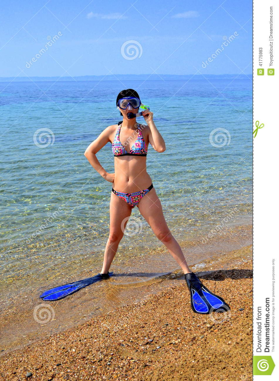 Woman In Scuba Diving Gear On A Beach Stock Photography ...