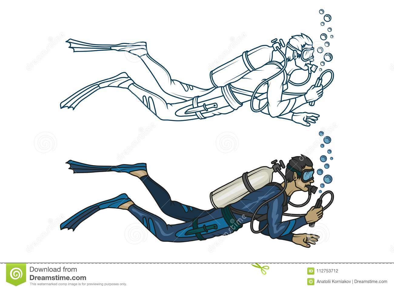 It is a graphic of Fabulous Scuba Diver Drawing
