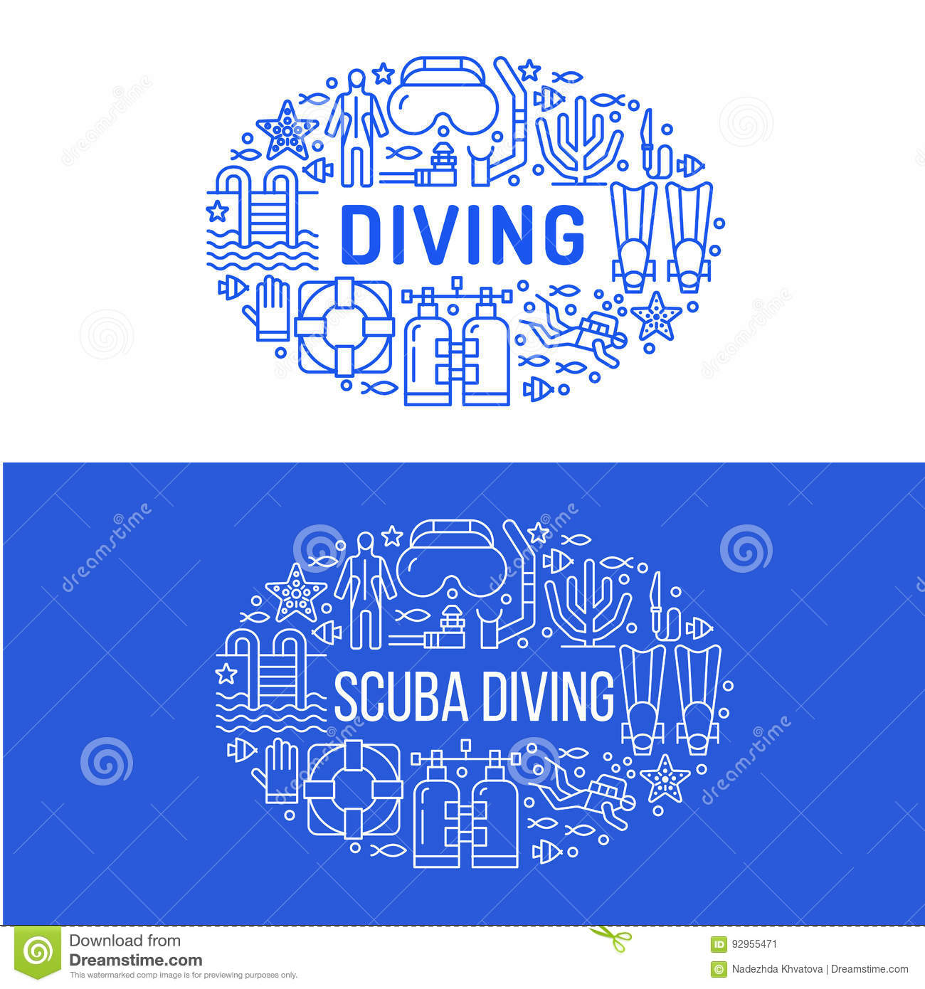 Spearfishing Diving Equipment Vector Set. Vector ...