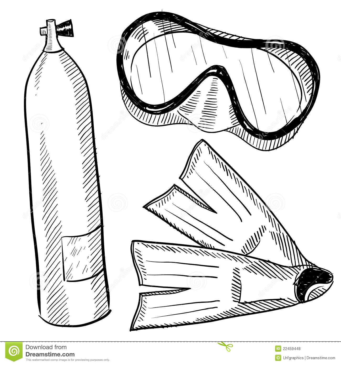 scuba gear drawing stock vector illustration of coral 22459448