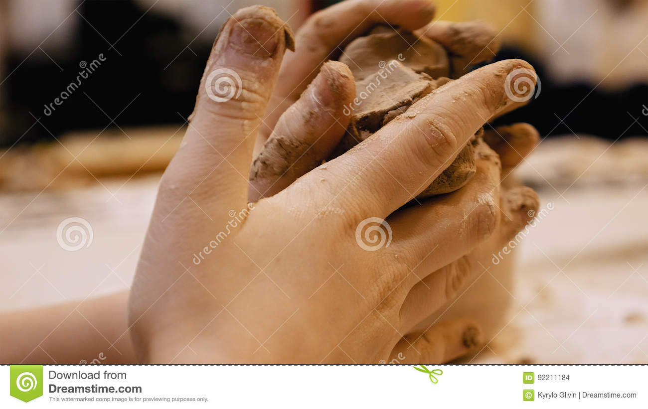 Sculptor Is Pugging Clay For Creating Pottery Stock Photo Image Of