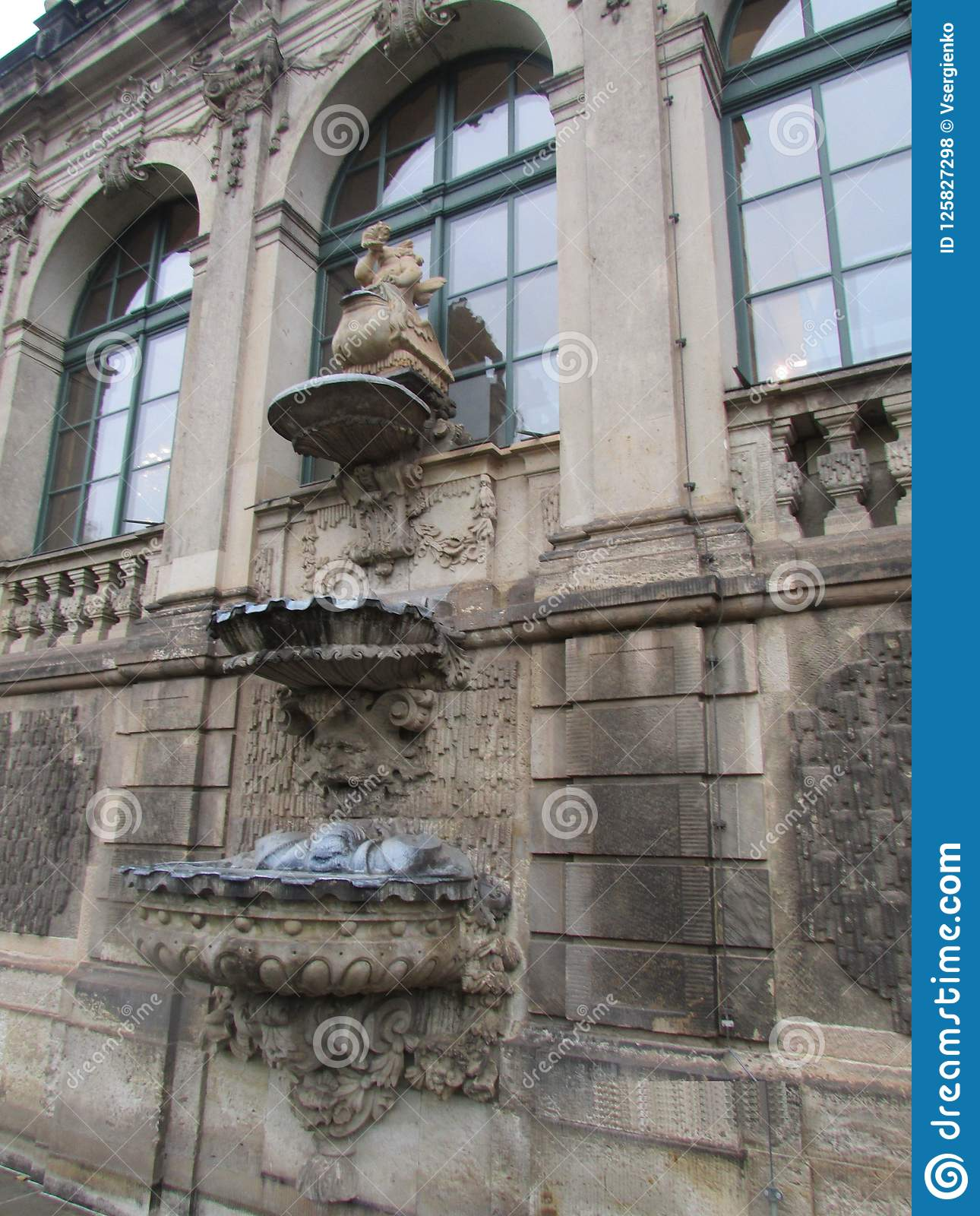 Sculptural decoration on the window in the royal castle Zwinger, Dresden, Germany.