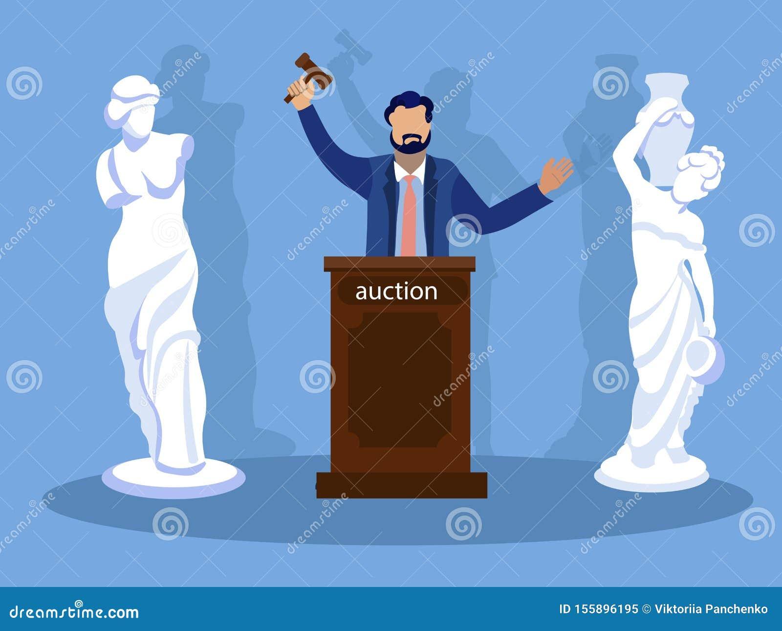 Sculpture Auction, winner. In minimalist style. Cartoon flat vector