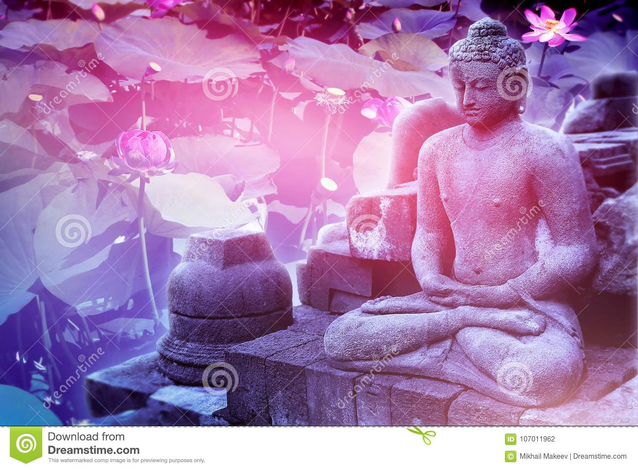 Sculpture of buddha on a floral pink background sacred lotus sculpture of buddha on a floral pink background sacred lotus flowers artistic image izmirmasajfo