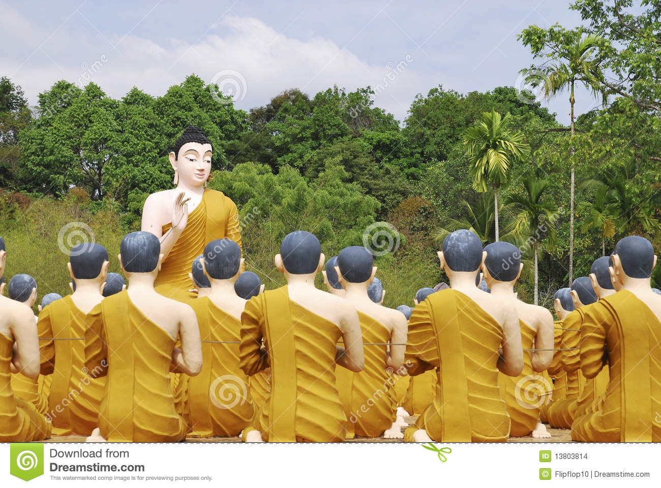 Sculpture Of Buddha Teaching Monks In Thailand Stock Images ...