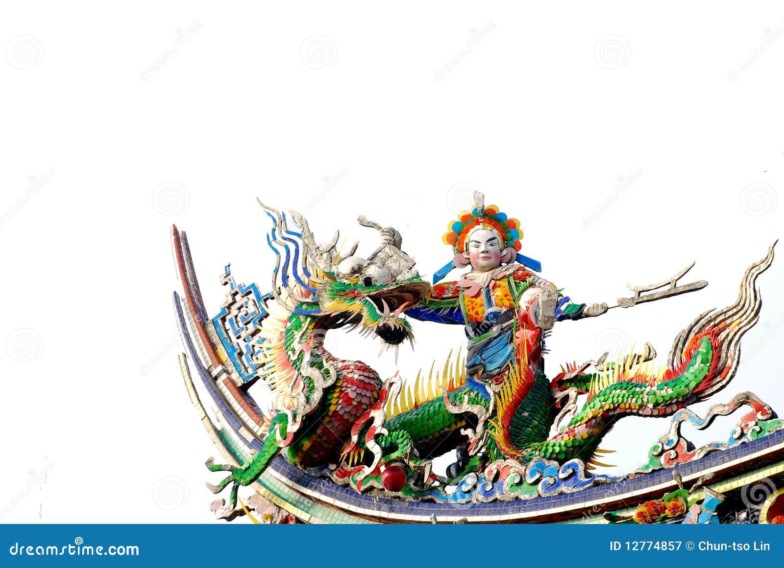 Sculpture chinoise en dragon et en dieu