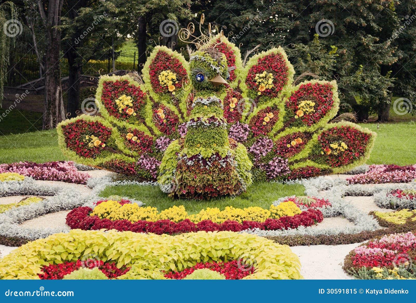 Sculpture Color E Lumineuse En Fleur De Paon Floralies
