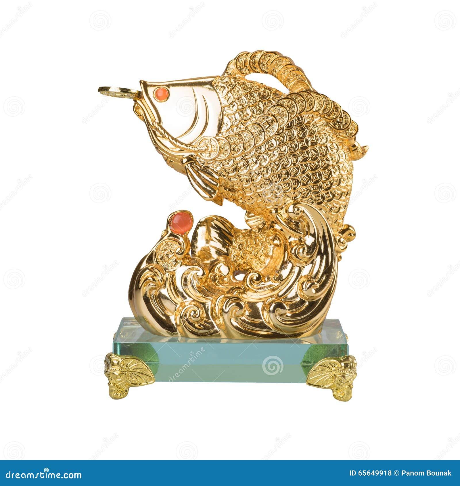 Sculpture d or en poissons d isolement sur le fond blanc