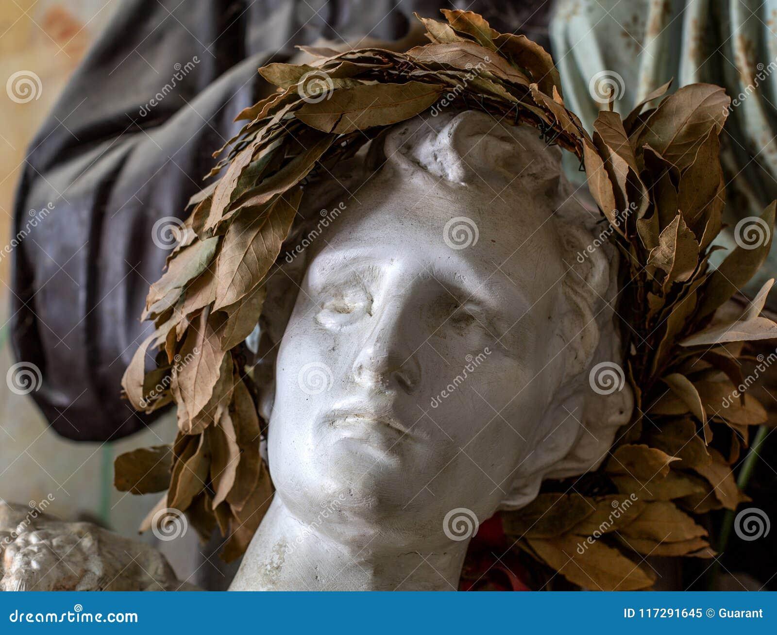 Sculpture en illustration par la tête de l homme avec la guirlande de laurier