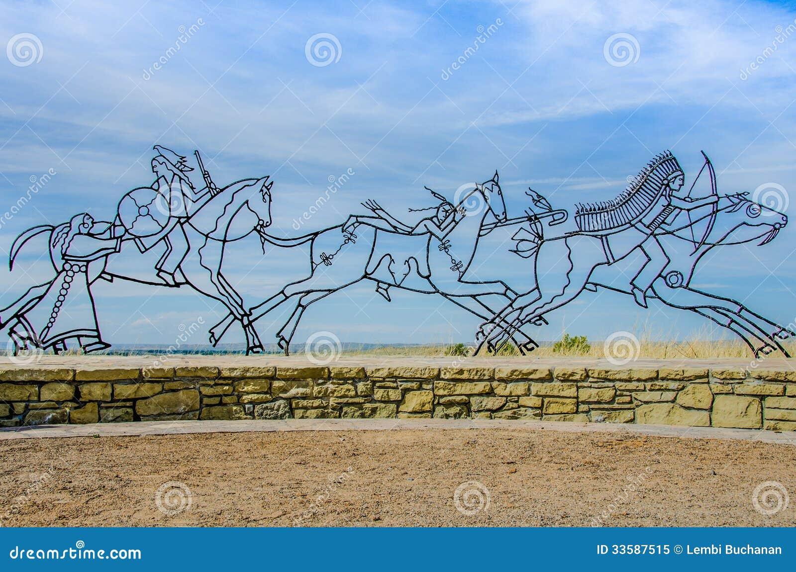 Sculpture en mémorial de Little Bighorn