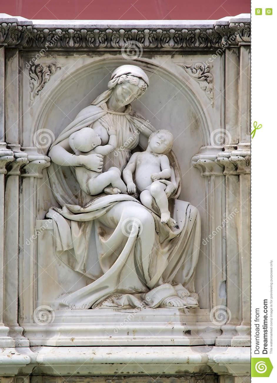 Ancient Gaia Statue sculpture from fonte gaia, siena, tuscany, italy stock photo