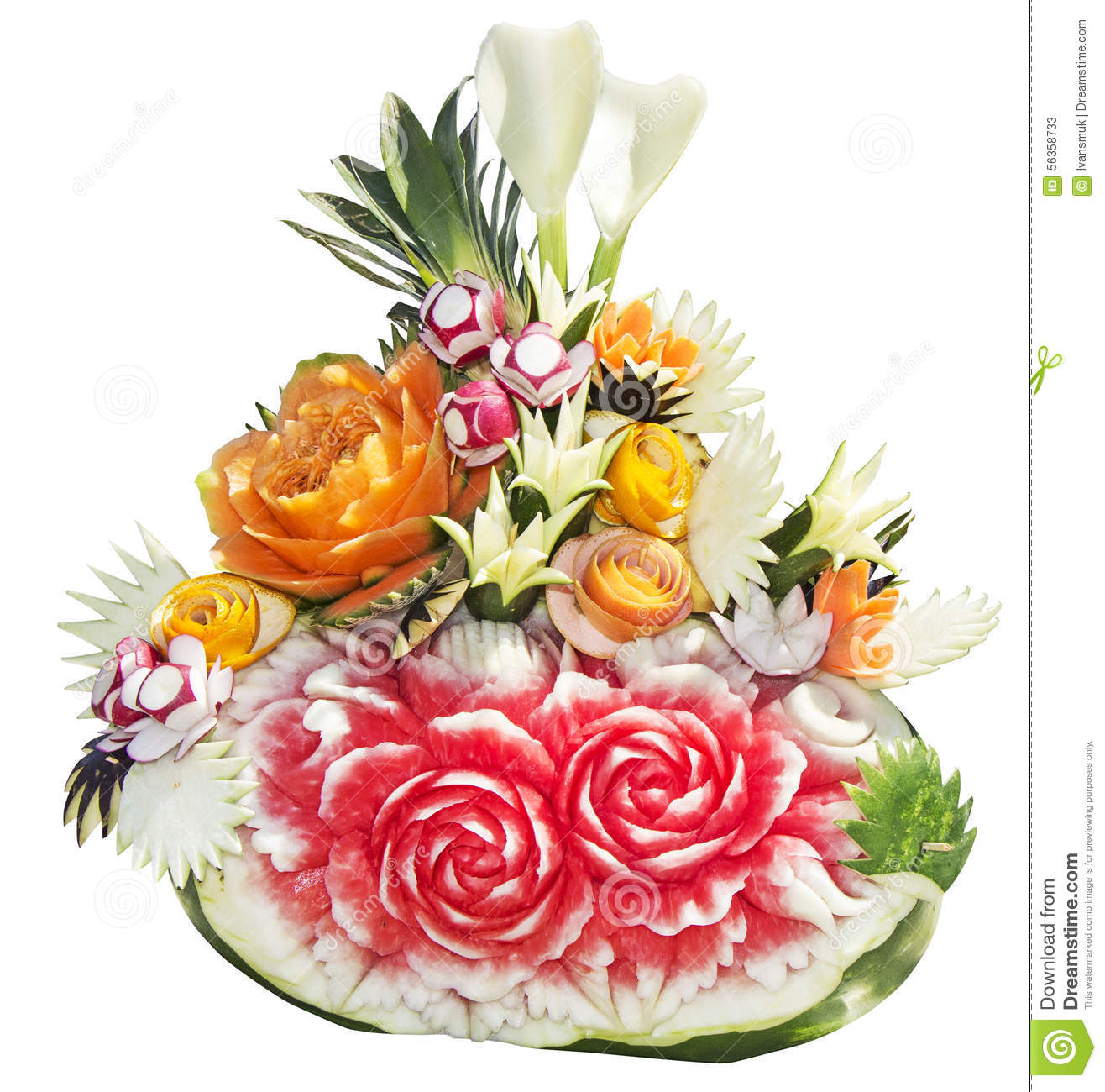 sculpture of fruit and vegetables stock image image of decoration isolated 56358733. Black Bedroom Furniture Sets. Home Design Ideas