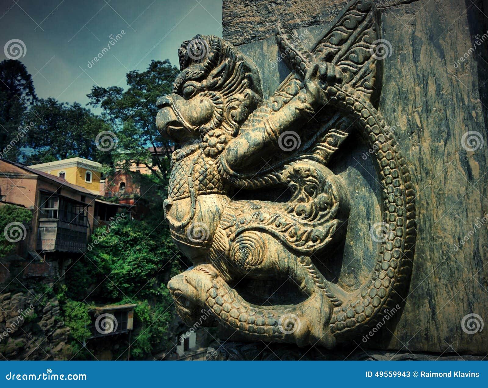 Sculpture Garuda near temple Pashupatinath in Kathmandu