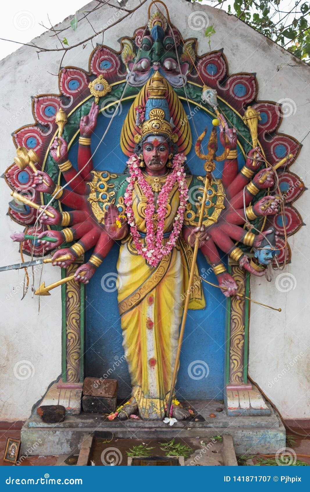Sculpture Of The Hindu Goddess Durga In Tamil Nadu Stock