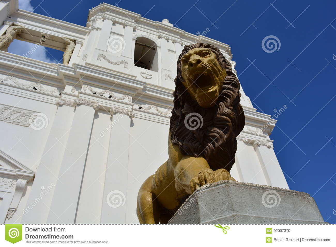 Sculpture of a lion at the Cathedral of Leon, an UNESCO Heritage Centre in Nicaragua