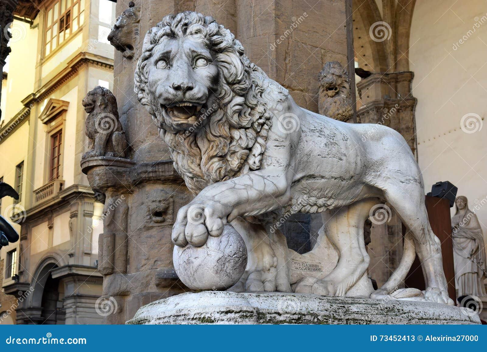 Sculpture of lion, Loggia dei Lanzi, Florence, Italy