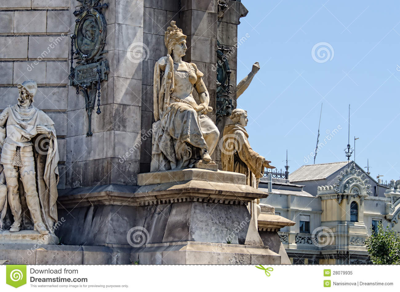 Download Sculpture At Monument On Placa Espana Barcelona Spain Stock Image - Image of decorative, fountain: 28079935