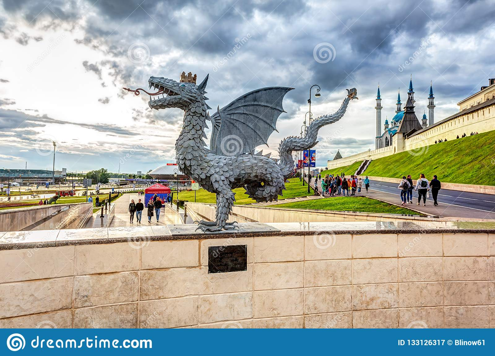 Sculpture of mythical serpent Zilant, the official symbol of Kazan