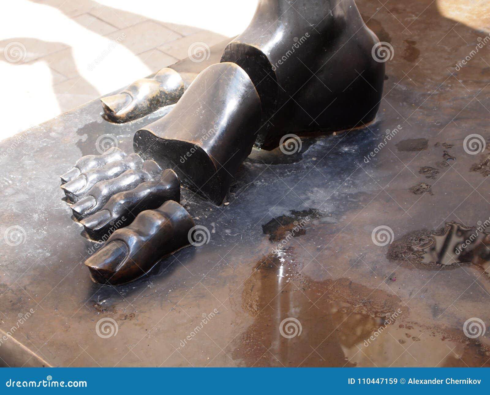 Fragment of sculpture Salvador Dali, dissected bronze foot . Figueres, Spain June 2011.