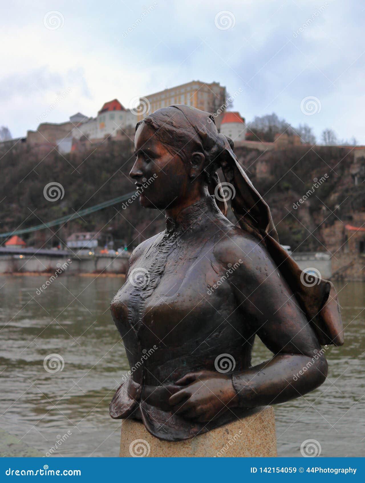 PASSAU, BAVARIA, GERMANY - MARCH 12, 2019: The bronze bust of Emerenz Meier, a Bavarian folk poetess.