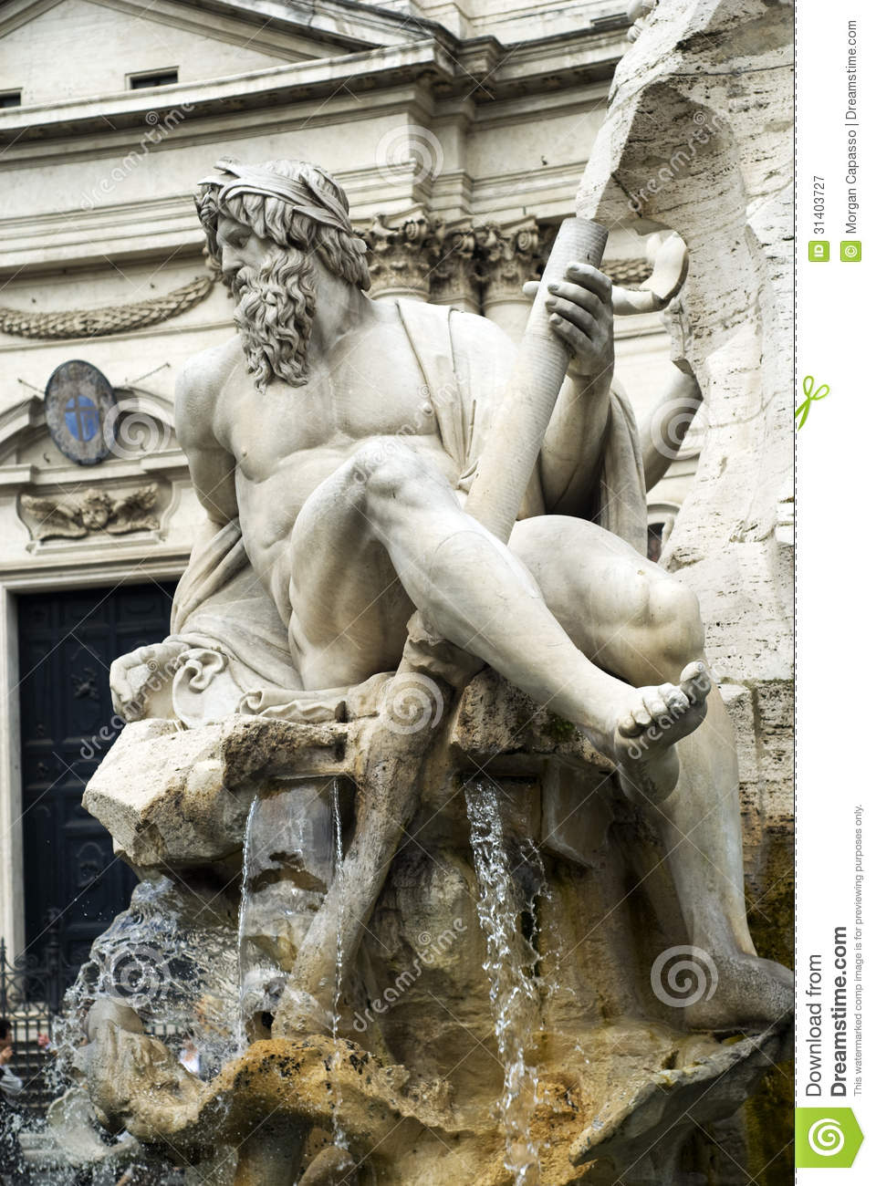Sculpture in piazza navone rome italy royalty free stock